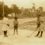 Three Children Playing Golf With Clubs Made Of Sticks, 1905